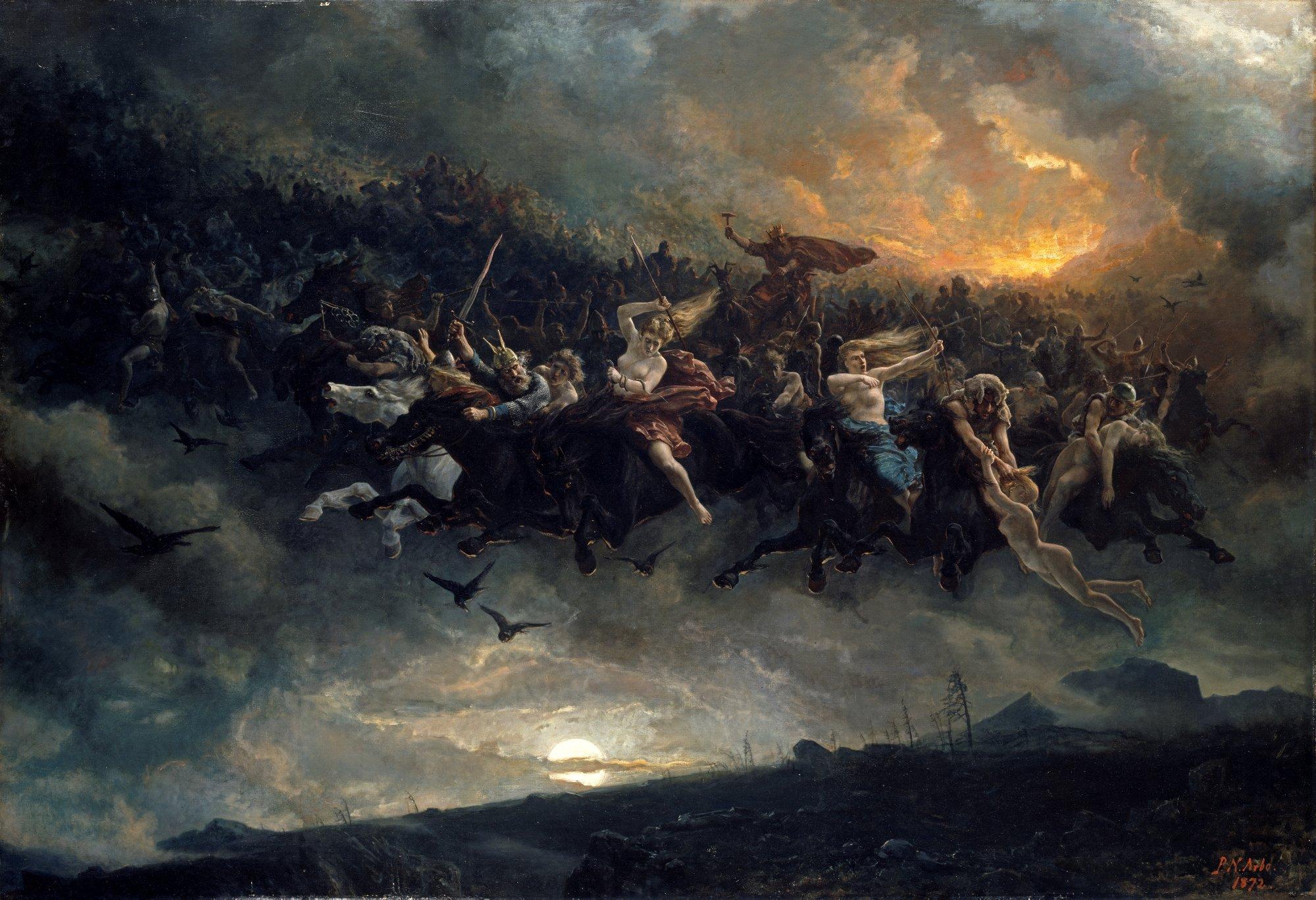 Åsgårdsreien, o The Wild Hunt of Odin; un elemento del folklore escandinavo que sirvió de inspiración para la Cacería Salvaje de la obra de Sapkowski, cuyos integrantes son elfos
